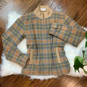 Liz Claiborne Plaid Lined Bomber Style Jacket